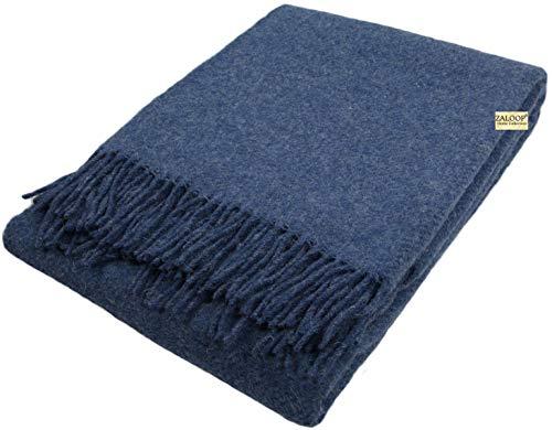 Zaloop Wolldecke 100% Schurwolle in versch. Farben und Größen Schurwolldecke Plaid (blau, ca. 140 x 200 cm)