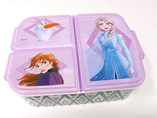 Frozen Eiskönigin Kinder Brotdose mit 3 Fächern, Kids Lunchbox,Bento Brotbox für Kinder - ideal für Schule, Kindergarten oder Freizeit