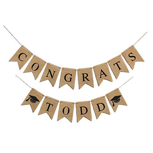 VALICLUD GIFT CONGRATS TODD Graduation Decoration Graduation Party Supply Classy Bunting Linen Dovetail Graduation Banner Wall Decoration for Graduation Ceremony