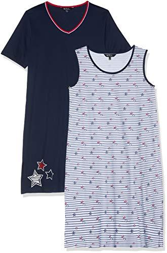 Ulla Popken Damen Big-Shirt 2er Pack, Streifen/Sterne, Größen Nachthemd, Blau (Dunkelblau 70), (Herstellergröße: 46+)