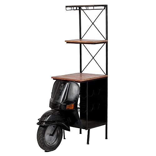 LEBENSwohnART Bar Regal Scooter Vintage-Schwarz ca. H168cm Tresen Roller Weinregal Standregal