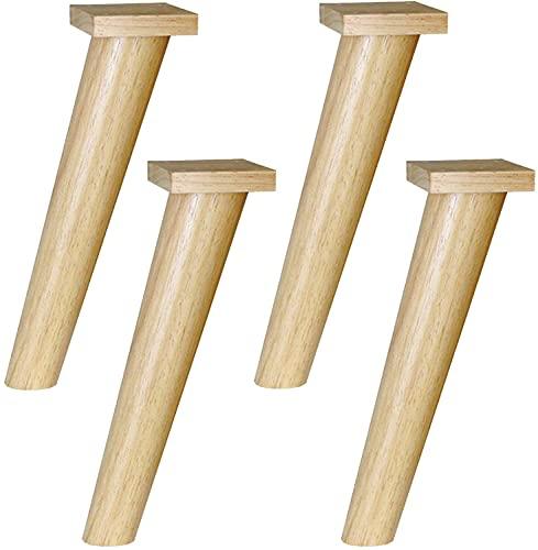 4 patas para muebles, patas de mesa de madera de goma, patas de sofá, paleta de madera fija oblicua, silla, mueble de repuesto para TV, color de madera (tamaño: 75 cm)