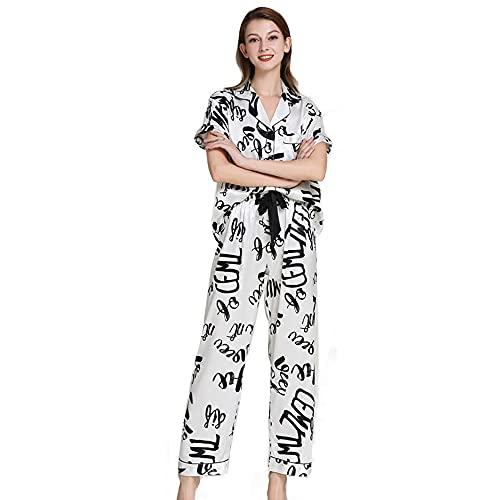 tmtonmoon Conjunto de pijama corto de satén para mujer, ropa de noche, ropa de casa, ropa de dormir, parte superior y pantalones con bolsillos para mujer P XL