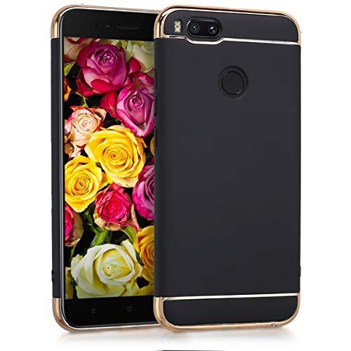 kwmobile Hülle kompatibel mit Xiaomi Mi 5X / Mi A1 - Chrom Handy Schutzhülle - Cover Case Handyhülle in Schwarz Gold