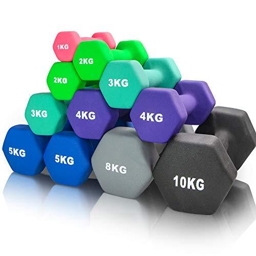 arteesol Set di 2 manubri da 10 kg, 8 kg, 5 kg, 4 kg, 3 kg, 2 kg, 1 kg, in Neoprene, per Uomo e Donna, Nero: 2 x 10 kg