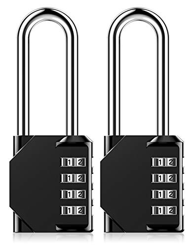 Combination Padlock Heavy Duty Lock - BeskooHome Weatherproof Padlock, Resettable Lock, 2.5inch Long Shackle 4-Digit Zinc Alloy Combination Lock for Shed Fence Gate, School, Gym, Toolbox - 2 Pack