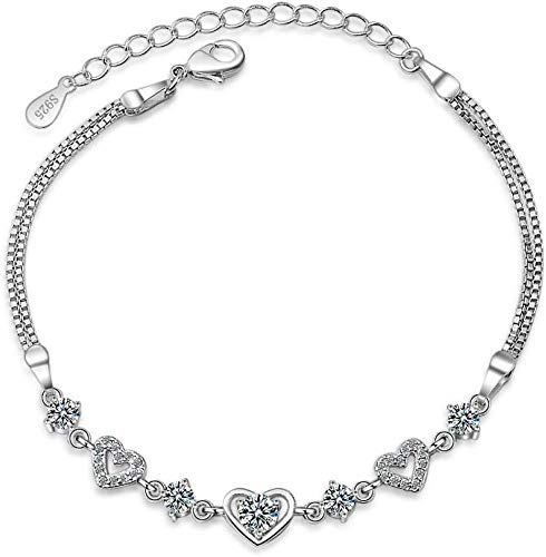 Fee-ZC Schönes Armband für Frauen, verstellbar, Tennis- und Diamant-Doppelherz-Armreif, modisch, schlicht, glitzernd, schöne, kreative, exquisite klassische Geburtstagsgeschenke, für Mutter und Frauen