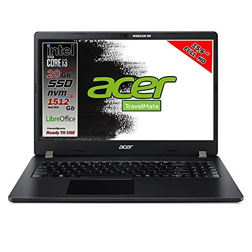 Notebook Acer travelmate Intel i3 10th, ram 20 gb, SSD M.2 Pci 512gb + hdd da 1 Tb, 15.6 Full hd, 3 USB, wi-fi, hdmi, bt, Win 10 Pro, Libre Office, preconfigurato e pronto all Uso, Gar. Italia