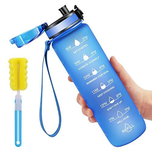 Favofit 1 Liter Trinkflasche mit Motivationszeitmarkierung, BPA-frei Tritan Wasserflasche mit Fruchtfilter und Reinigungsbürste, Auslaufsichere Sportflashce, 1 klick Öffnen, Blau