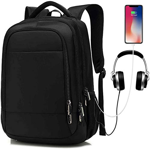 N \ A Business Laptop Backpack Bag with USB Charging Port, Waterproof 15.6 inch Notebook Charging Backpack, USB Rucksack Canvas Daypack for Men Women College Travel (Black)