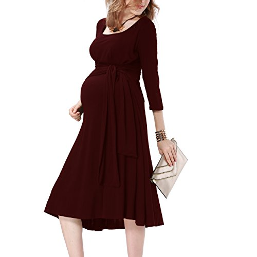 JET-BOND Nursing Breastfeeding Dress for Women Cover Panel with Long Belts Jersey Midi Maternity Sleeves Clothing FS59 (M, Wine)