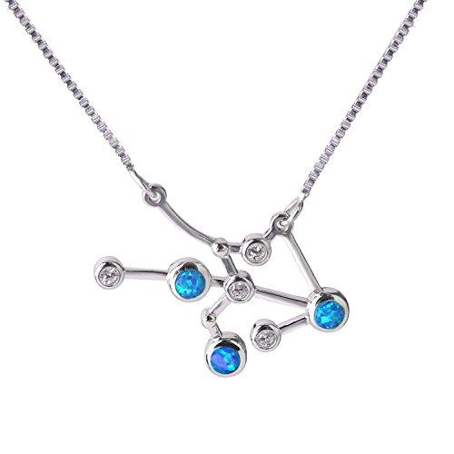 Collar de plata de ley con colgante de ópalo zodiacal, de C.QUAN CHI, horóscopo y astrología, 12 constelaciones, joya de la amistad, Capricornio