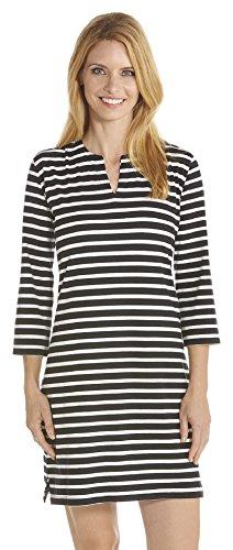 Coolibar Damen UV-Schutz Tunika, Schwarz/Weiß, 44/XL