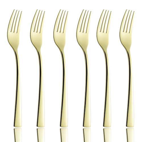 Onlycooker 6 Piece Gold Dinner Fork Set 7.7-inch Stainless Steel Service for 6 Salad Dessert Forks Silverware Sets Utensils Flatware Mirror Polished Dishwasher Safe