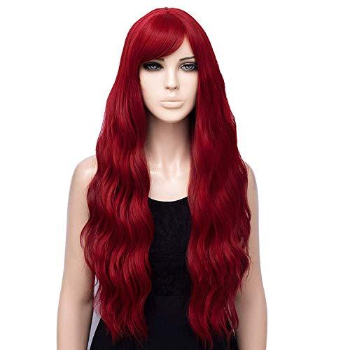 Pelucas Rosas de Ombre para Las Mujeres con raíces Negro Suelto Ondulado Wavy Wig Uso de la Fiesta de la Fiesta, Halloween (Gris) (Rojo) BJY969 (Color : Red)