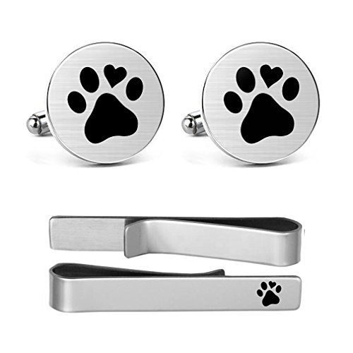 MUEEU Animal Cufflinks Pet Dog Cat Paw Print Round Cuf flink Tie Clips Set Engraved Personalized Gifts (Round Cufflinks and tie Clip)