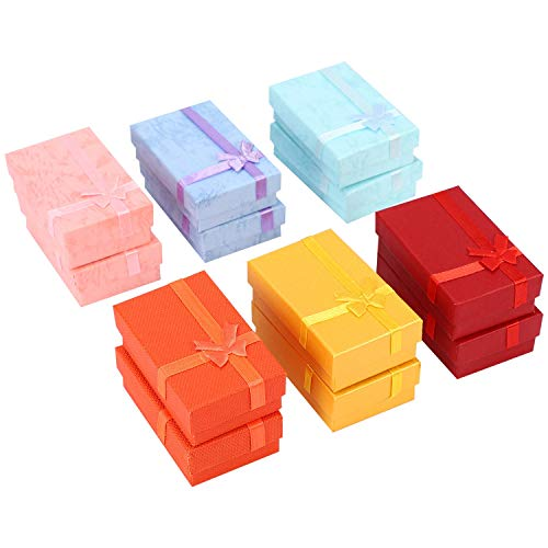 Ctzrzyt 12pcs Paper Jewelry Gifts Boxes For Jewelry Display-Rings, Small Watches, Necklaces, Earrings, Bracelet Gift Packaging Box (Mix Color)
