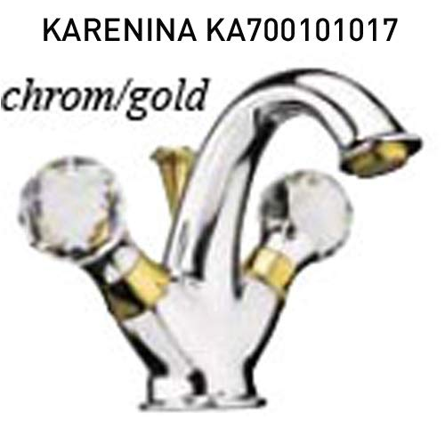 Edele 2-hands wastafelarmatuur chroom/goud 24 karaat met originele Swarovski handgrepen, mengkraan voor wastafel waskom afvoergarnituur, serie KARENINA