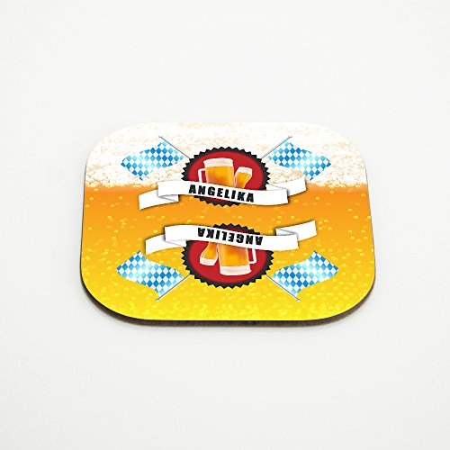 Untersetzer für Bier-Gläser mit Namen Angelika und schönem Bier-Motiv mit weiss-blauen Flaggen