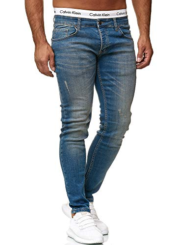 OneRedox Designer Herren Jeans Hose Slim Fit Jeanshose Basic Stretch 613 Dirty Blue Used 29/32