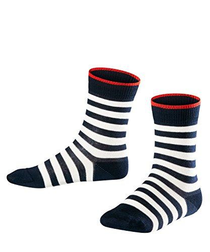 FALKE Kinder Socken Double Stripe - 81% Baumwolle, 1 Paar, Blau (Marine 6121), Größe: 27-30