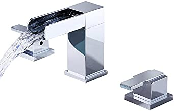 Lovedima Mero Waterfall Modern Widespread Bathroom Sink Faucet 2 Handles Chrome