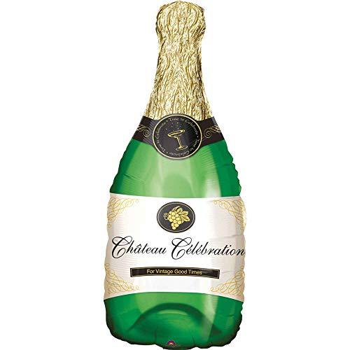 Anagram Pallone Foil Supershape 36''-91 cm Bottiglia Champagne, Multicolore