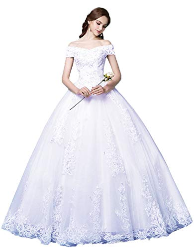 Okaybrial Women's Ball Gown Bridal Dress Lace Appliques Off Shoulder Floor Length No Train Wedding Dress 2019 White