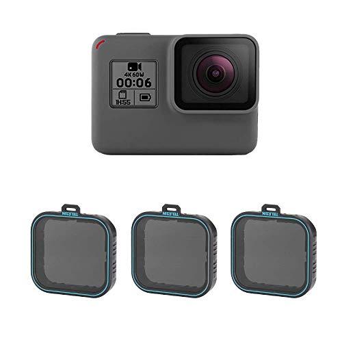 TELESIN 3 Pack Neutraler Dichtefilter ND Filter Set ND4 ND8 ND16 Linsenfilter für GoPro Hero (2018), Hero 5 Hero 6 Hero 7 Black Camera