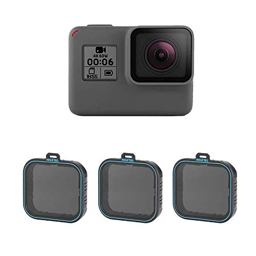 TELESIN 3 Pack Neutraler Dichtefilter ND Filter Set ND4 ND8 ND16 Linsenfilter für GoPro Hero (2018), Hero 5 Hero 6 Hero 7 Black Camera