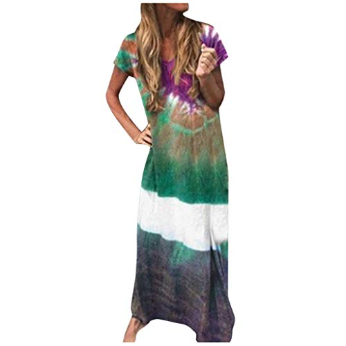 Review Of Toimothcn Women Plus Size Dress Short Sleeve Tie-Dyed Color Block Dress Loose V Neck Long ...