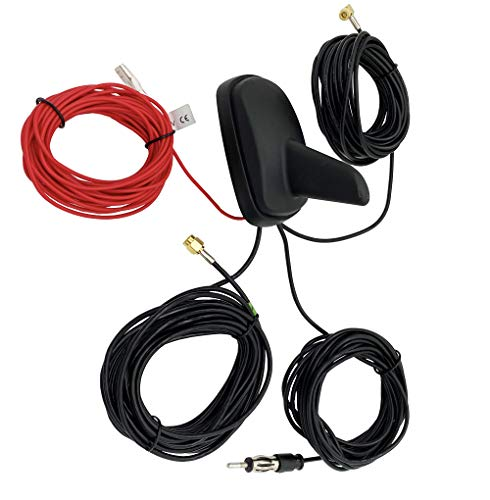 Vecys Dab Dab + FM/Am GPS Antena Coche Shark Fin FM/Am GPS Antena Techo Coche Adaptador Señal Refuerzo SMB a SMA a DIN 5m Cable RG174 para Coche Dab Sistema Radio Digital FM/Am