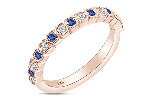 Alianza de boda de media eternidad con diamantes blancos redondos de 1/3 quilates con zafiro azul en oro de 18 quilates sobre plata de ley (0,31 quilates), Diamond Sapphire,