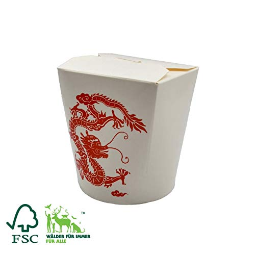 Pack&Cup Bio Asia-Box mit Faltdeckel, Einweg Döner-Box für Fingerfood Red Dragon 500 ml 30 Stück