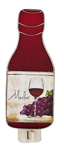 Red Merlot Wine Bottle Stained Glass Night Light - By Ganz