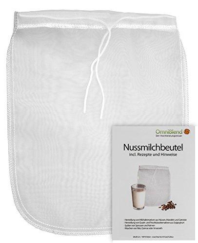 Nussmilchbeutel/Passiertuch/Käsetuch zur Herstellung veganer Milchalternativen und vielen weiteren Anwendungsmöglichkeiten aus 100% Nylon