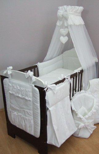 Parure de lit bébé brodé, de 13 pièces pour lit, Sac à Langer, volants pour lit d'enfant, lit (pour lit 120 x 60 cm) – Motif cœurs Blanc