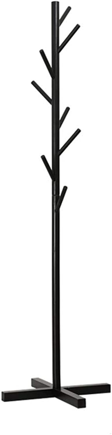 Floor Coat Rack, Coat Coat Rack Tree Rod Hanger Solid Wood Bedroom Home Single Rod Hook Clothes Hook (color   Black)