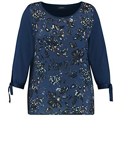 Samoon T-Shirt 3/4 Arm, Oceano Profondo Modellato, 48 Donna