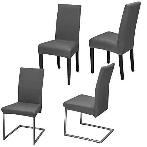 Staboos Stuhlhussen 4er Set aus 96% Baumwolle - Bi-elastische Stretch Stuhlüberzüge - Universal Stuhlbezug - Stuhlabdeckung waschbar & bügelfrei, Dunkelgrau