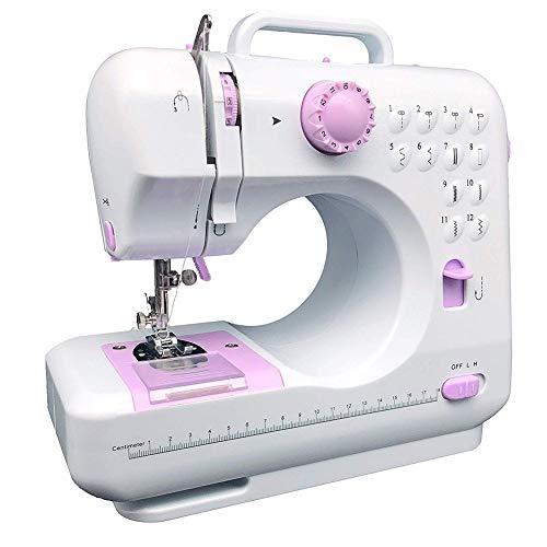 lxfy - Máquina de coser eléctrica con 12 puntos, tamaño mini con ojal en el punto trasero, máquina de coser multifuncional, para tejidos gruesos y multicapas