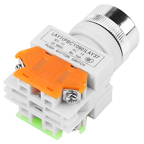 Changor Interruptor momentáneo Estable, ≥ 440V 220V Stop Push Botón de plástico, Hierro (Verde)