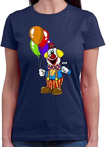 HARIZ Damen T-Shirt Rundhals Clown Luftballons Fröhlich Karneval Kostüm Inkl. Geschenk Karte Navy Blau M