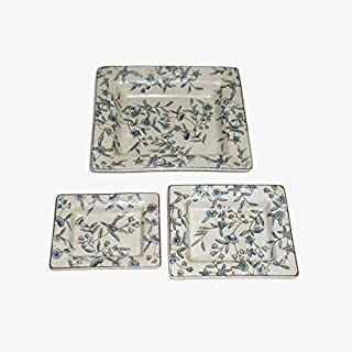 Better & Best Azules Set de 3 ceniceros Porcelana Flores, Medidas 20x17x3 14x11x3 12,5x9,5x2,5, Material: Ceramica, Talla única