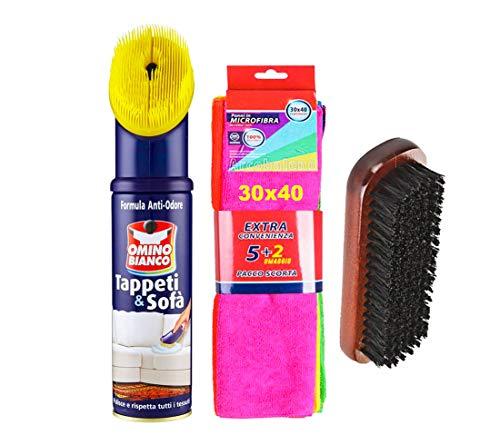 OMINO BIANCO Pulitore per tappeti e diavani, 300ml + pacco 7 pezzi panni microfibra 30x40 + spazzola per pulizia tappeti