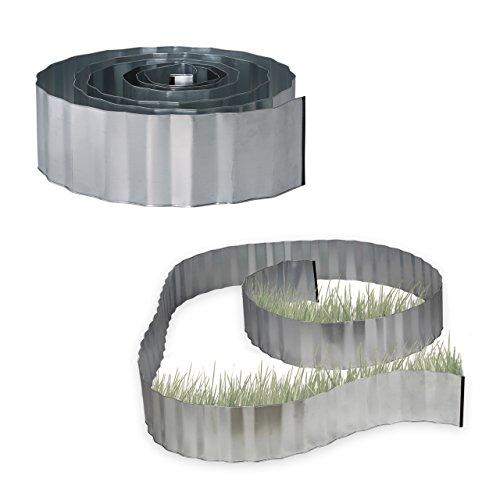 Relaxdays 2X Rasenkante verzinkt, Beetumrandung Metall, Beeteinfassung als Wurzelsperre, LxH: 5 m x 16 cm, flexibel, Silber, grau
