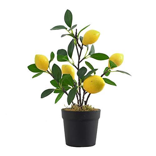 SUREH Kunstmatige Citroenbomen, Mini Potted Citroen Boom, Citroenboom Kunstmatige Plant voor Thuis, Woonkamer, Eetkamer, Badkamer Kantoor Tafeldecoratie (Groen)