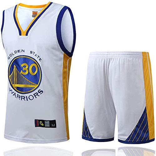 Herren Basketball Trikots - Golden State Warriors # 30 Stephen Curry Retro Trikot, Sommer atmungsaktive bestickte Swingman ärmellose T-Shirts Jersey Basketball Uniform Sport Tops und Short One Set