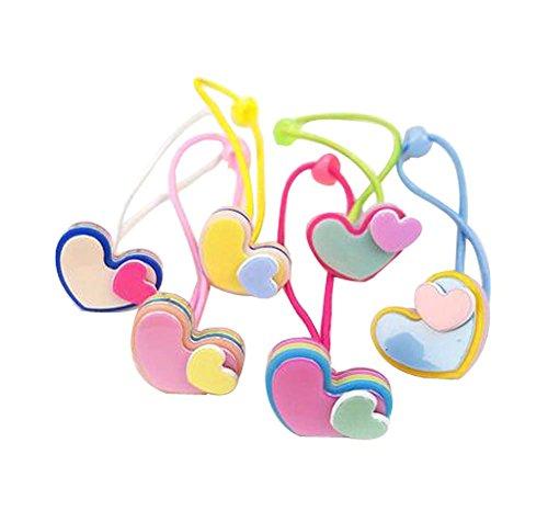 Ensemble de 12 Colorful Bands Cravate cheveux caoutchouc Cordes Anneaux cheveux, Coeurs Affectueux