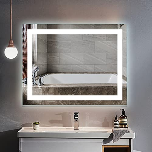HAUSCHEN HOME LED Lighted Vanity Bathroom Mirror 36 x 28 inch, Wall Mounted + Anti Fog & Dimmer Touch Switch + IP44 Waterproof + 5500K Cool White +3000K Warm + CRI90 + Vertical&Horizontal